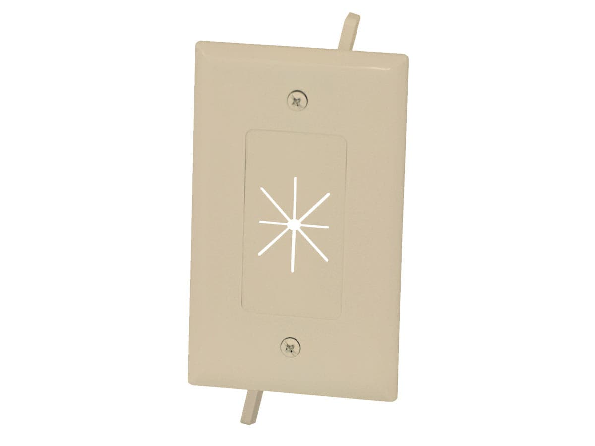 Cable Plate with Flexible Opening, 1-Gang, Ivory