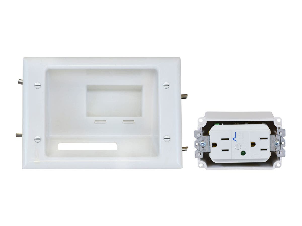 Monoprice Recessed Low Voltage Mid-Size Plate with Duplex Surge Suppressor, White-Large-Image-1