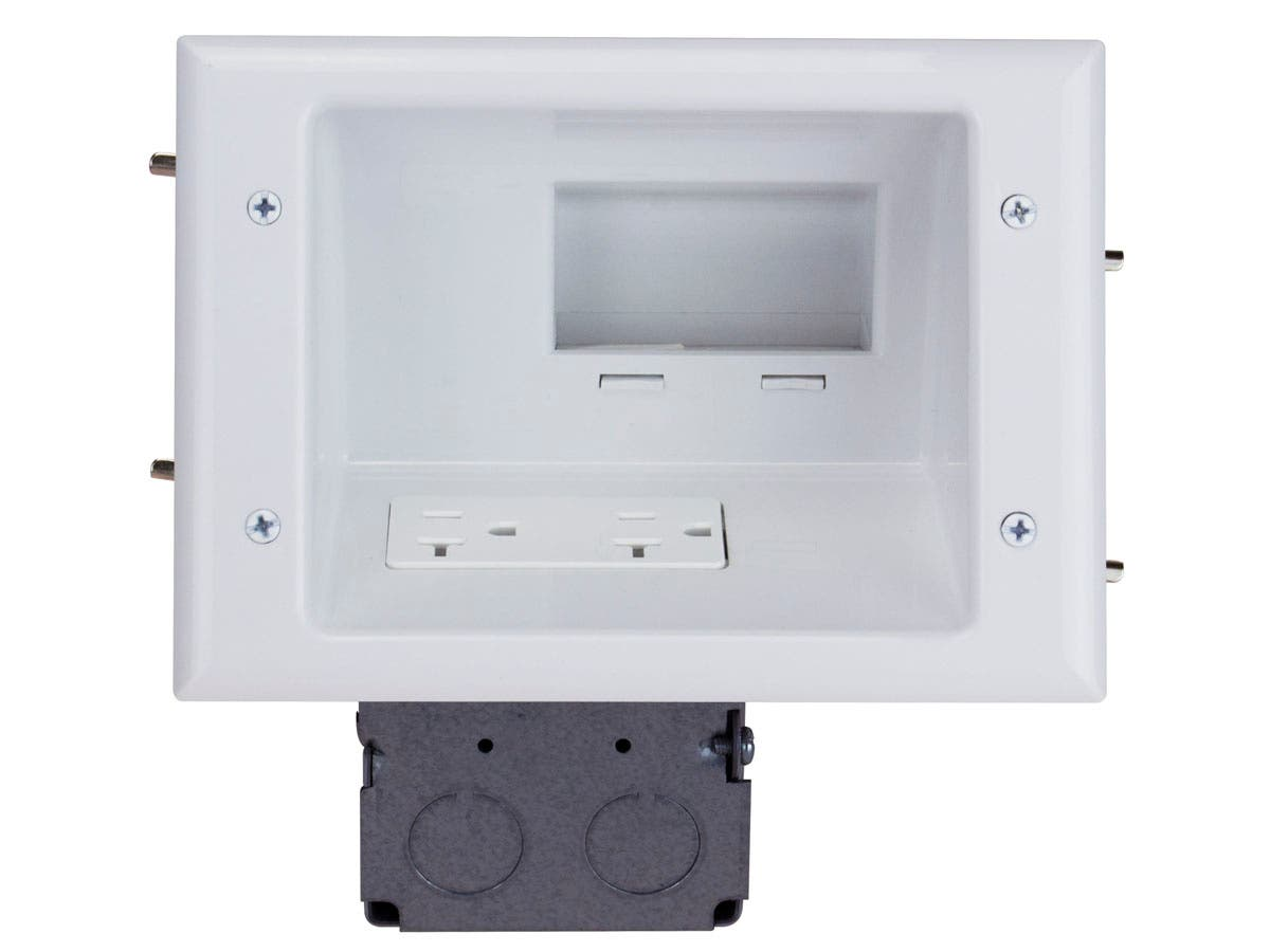 Monoprice Recessed Low Voltage Mid-Size Plate with 20 Amp Duplex Receptacle, White-Large-Image-1