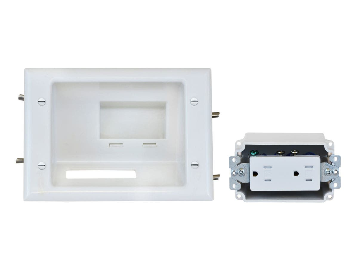 Monoprice Recessed Low Voltage Mid-Size Plate with Duplex Receptacle, White-Large-Image-1