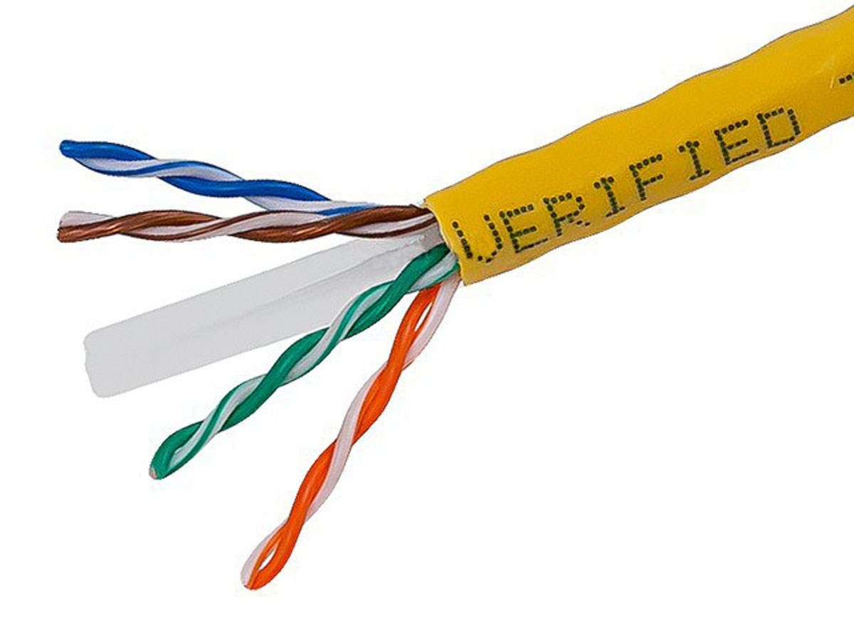 1000FT Cat6 Bulk Bare Cable Copper Ethernet Cable, UTP, Stranded, In-Wall Rated (CM), 550MHz, 24AWG - Yellow - No Logo