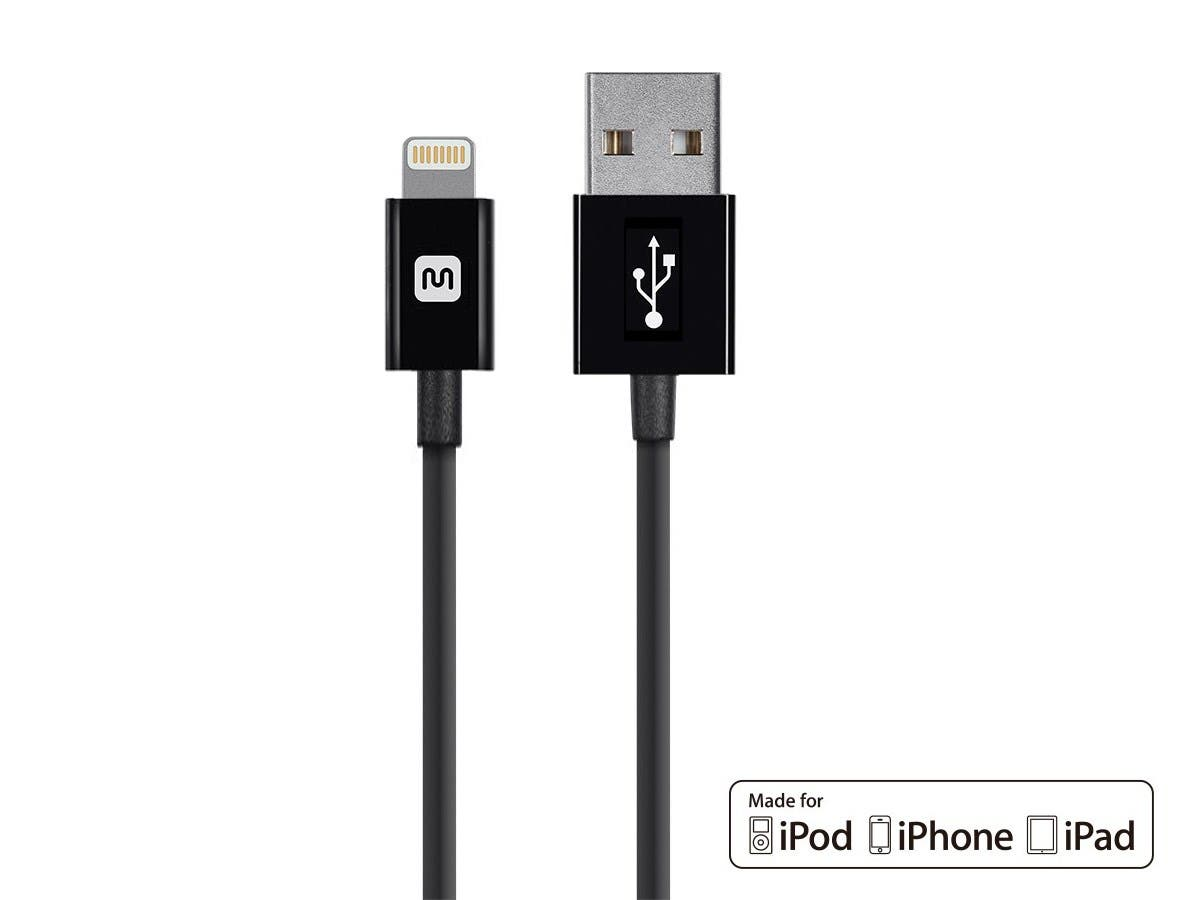 Monoprice Select Series Lightning to USB Cable - Apple MFi Certified, Black, 6ft -Large-Image-1