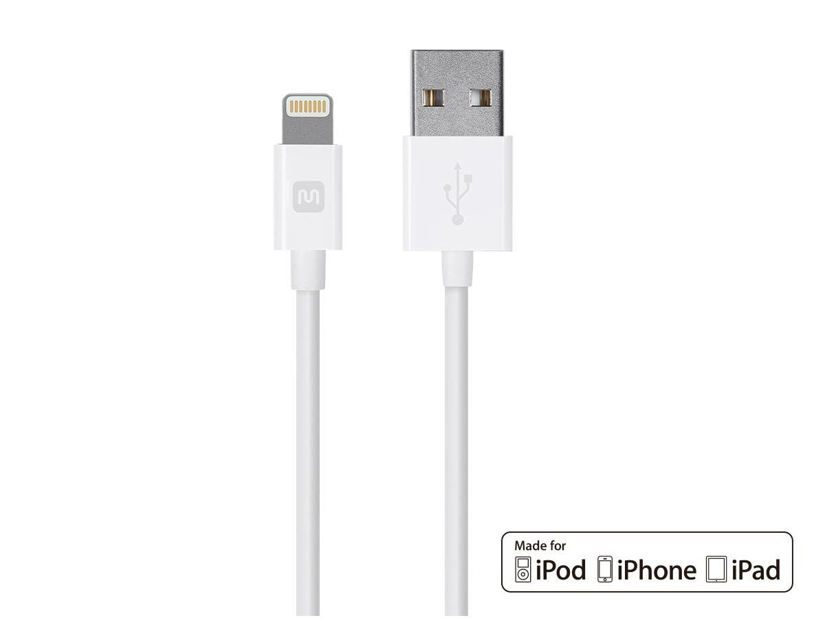 Monoprice Select Series Apple MFi Certified Lightning to USB Charge & Sync Cable, 6ft White-Large-Image-1
