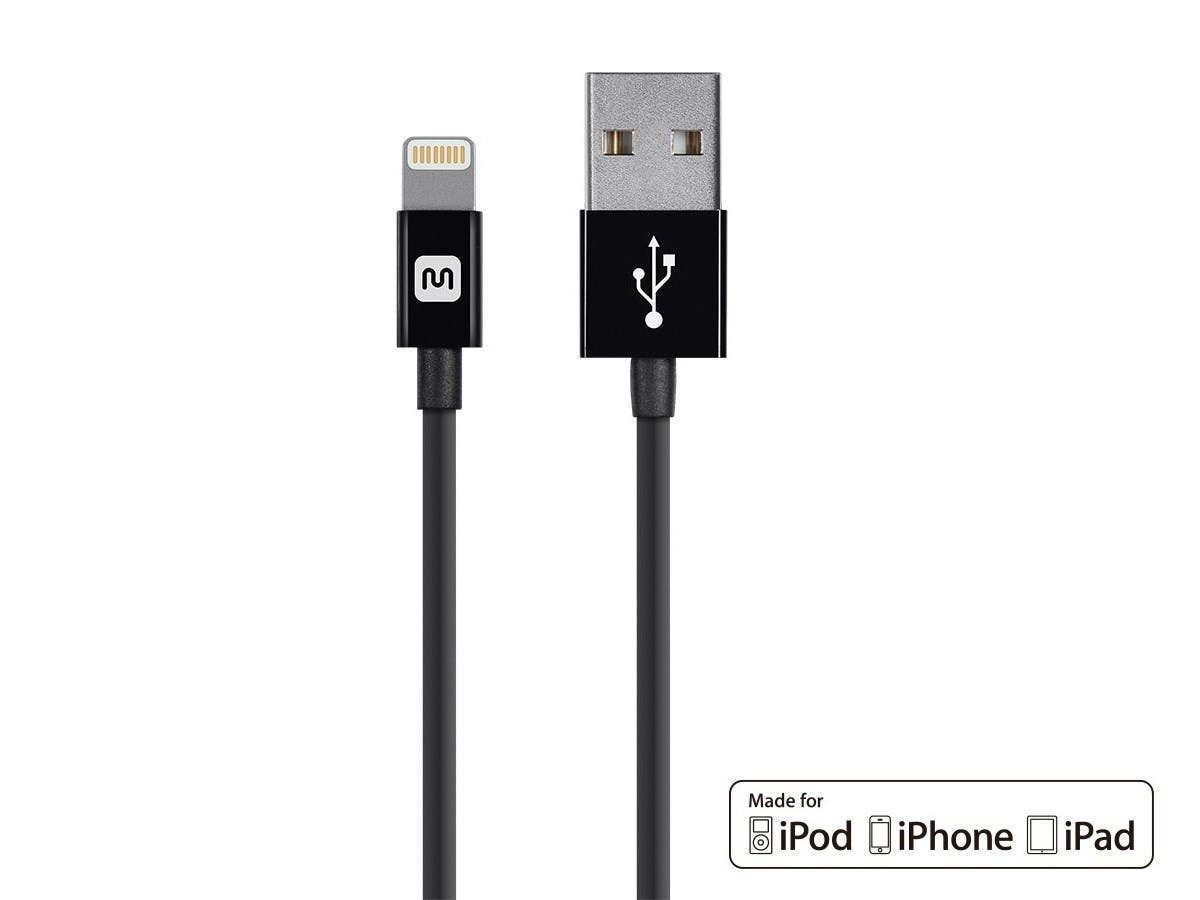 Monoprice Select Series Apple MFi Certified Lightning to USB Charge & Sync Cable, 3ft Black-Large-Image-1