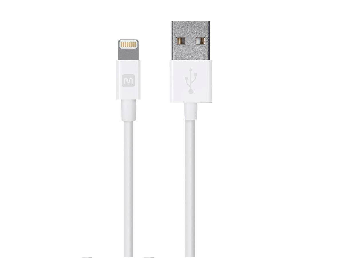 Monoprice Select Series Apple MFi Certified Lightning to USB Charge & Sync Cable, 3ft White-Large-Image-1
