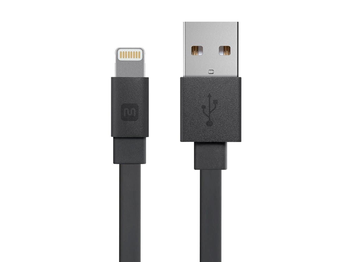 Cabernet Series Apple MFi Certified Flat Lightning to USB Charge & Sync Cable, 6-inch Black