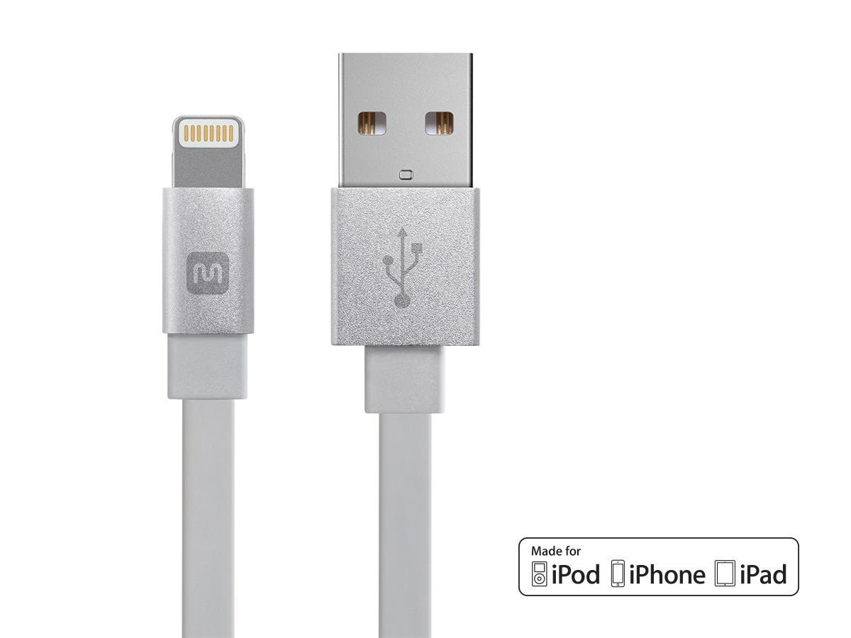 Monoprice Cabernet Series Apple MFi Certified Flat Lightning to USB Charge & Sync Cable, 3ft White-Large-Image-1