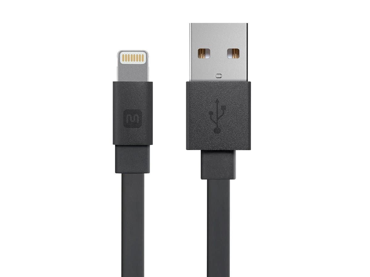 Cabernet Series Apple® MFi Certified Flat Lightning™ to USB Charge & Sync Cable, 4ft Black