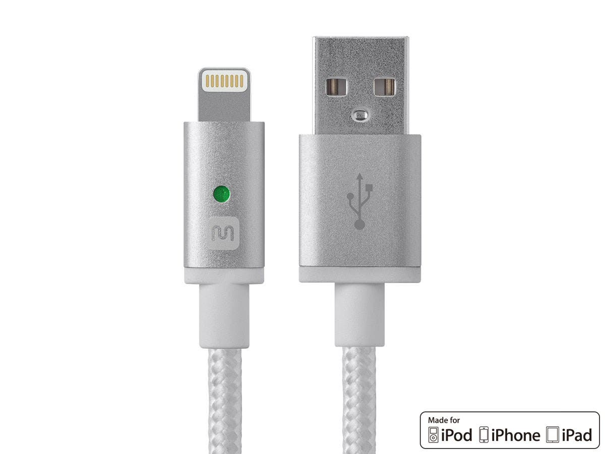 Luxe Series Apple MFi Certified Lightning to USB Charge & Sync Cable, 6-inch White