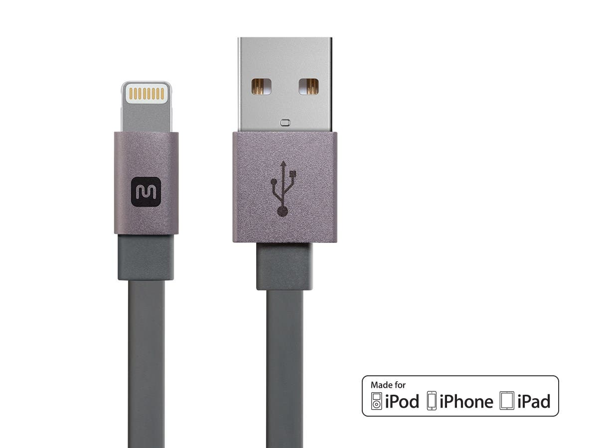 Cabernet Series Apple MFi Certified Flat Lightning to USB Charge & Sync Cable, 6-inch Gray