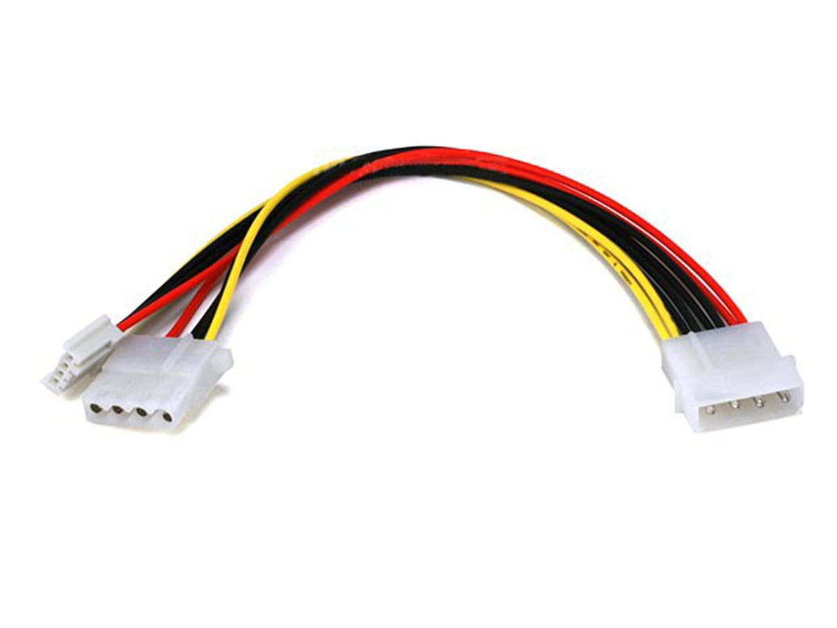 Molex Power Splitter Cable, 1x 5.25in Male to 2x 5.25in Female and 1x 3.5in Female, 8in