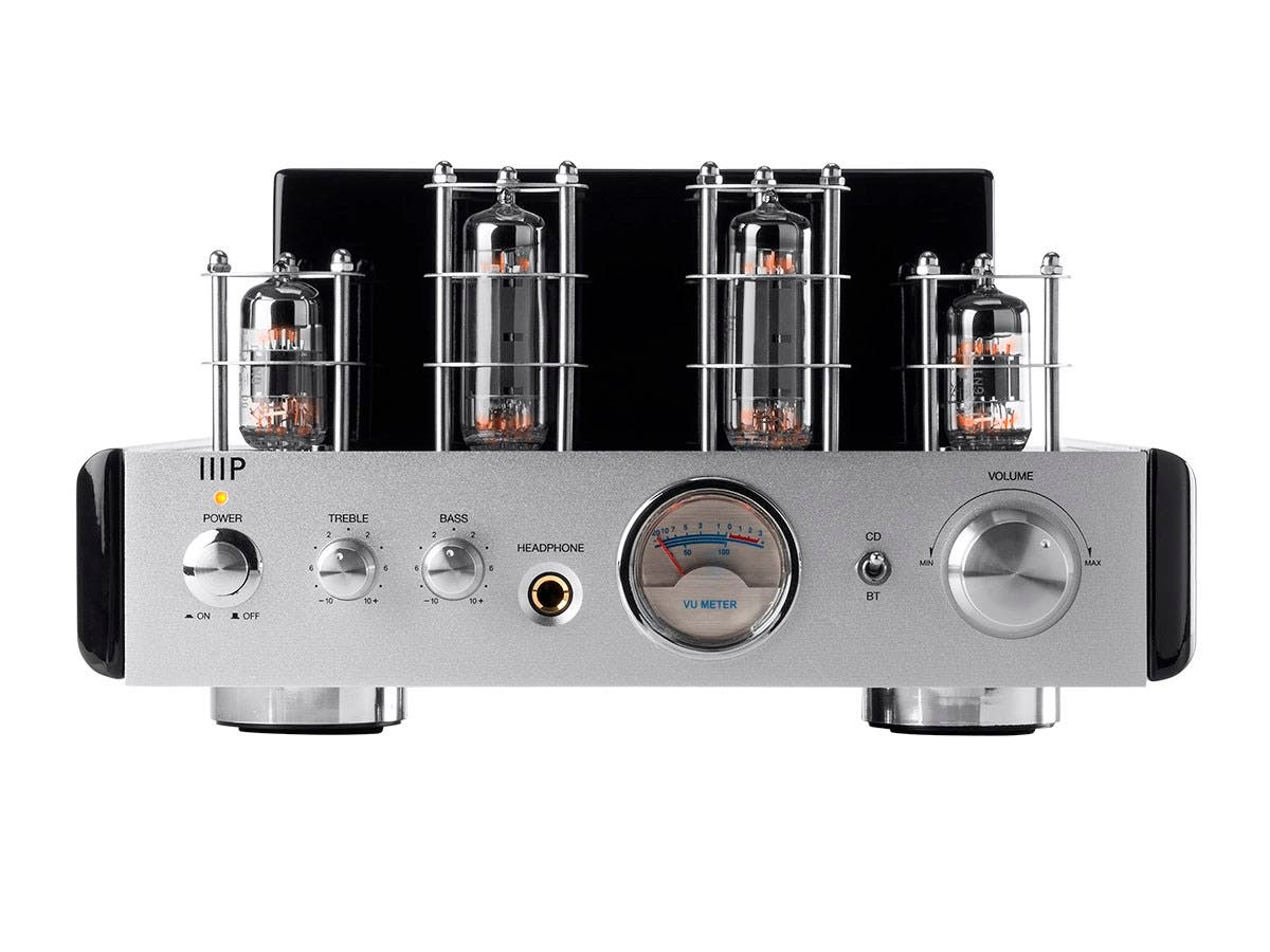 monoprice 113194 25 watt power amplifier stereo hybrid tube amp with bluetooth ebay. Black Bedroom Furniture Sets. Home Design Ideas