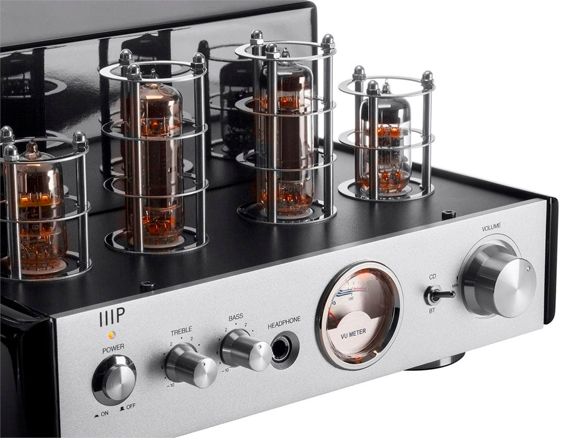 Monoprice 25 Watt Stereo Hybrid Tube Amplifier With Bluetooth Vu Meter For Power Amplifiers Small Image 5