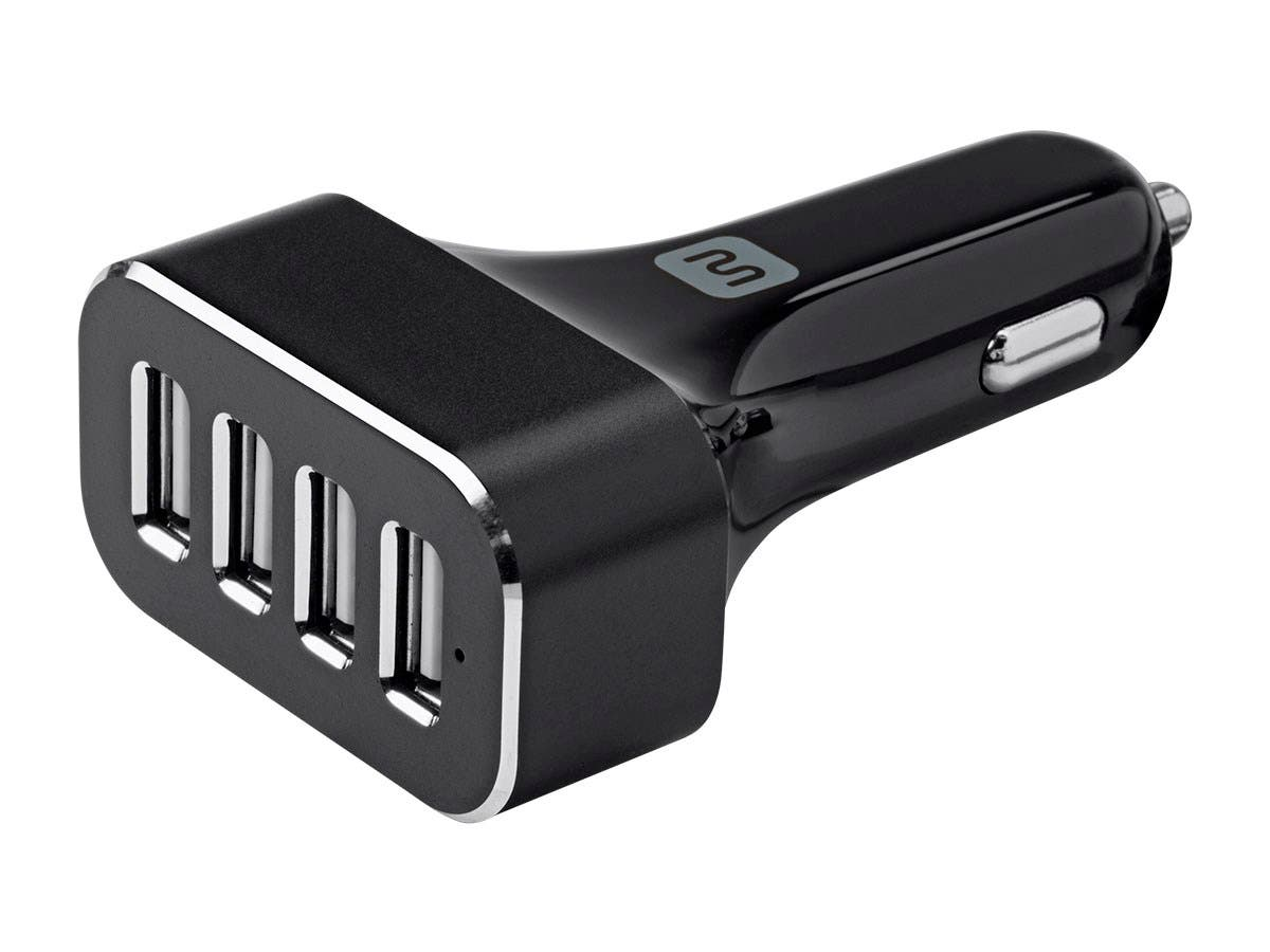 4-Port USB Car Charger, 9.6A Black