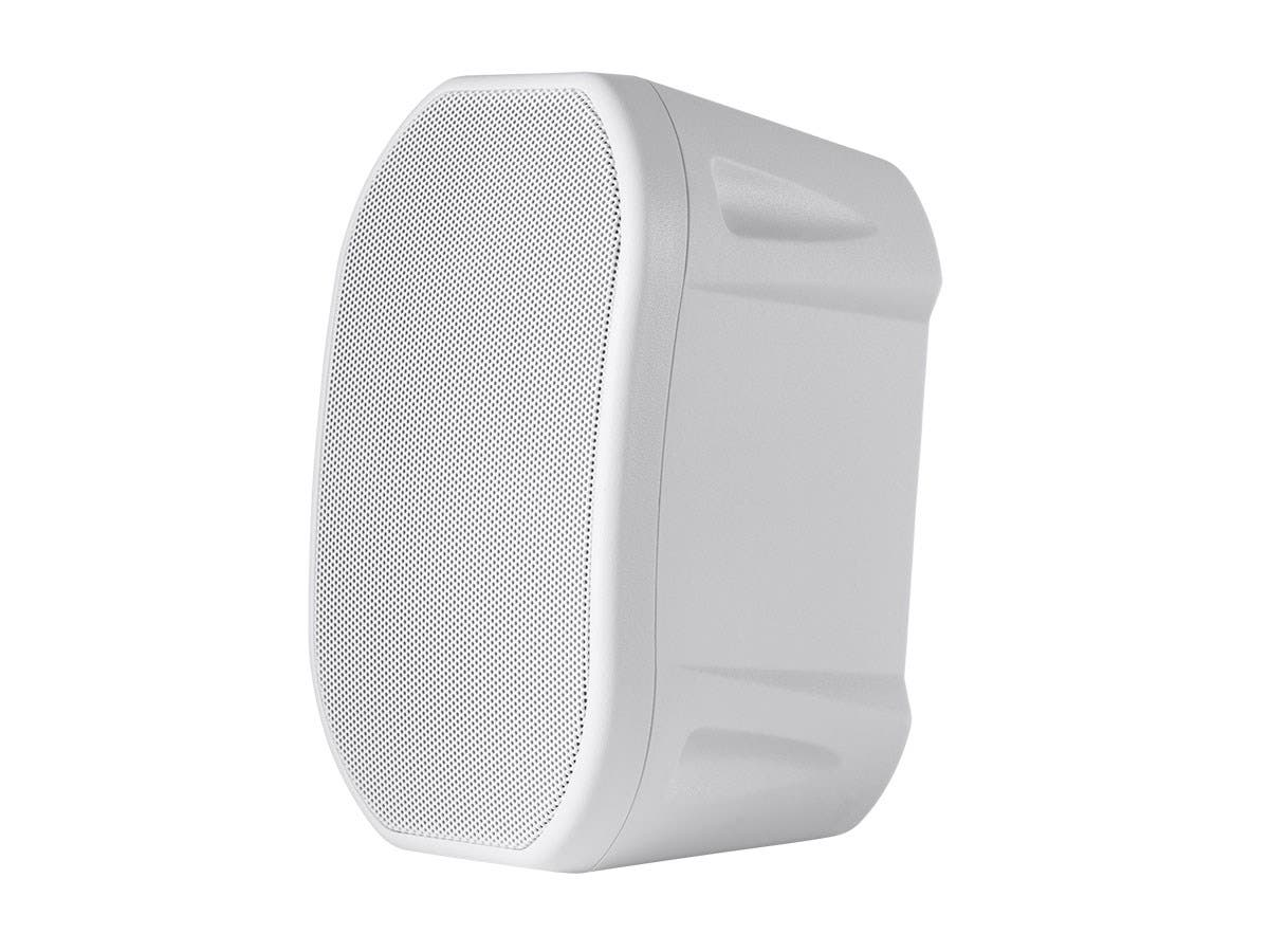 4-inch Weatherproof 2-Way Speakers with Wall Mount Bracket (Pair White)