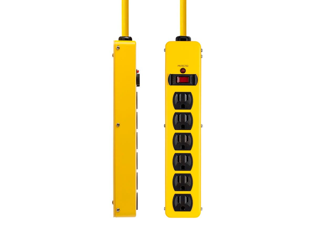 Monoprice 6 Outlet Power Strip, 540 Joules, Metal with 6ft Cord (Yellow)-Large-Image-1