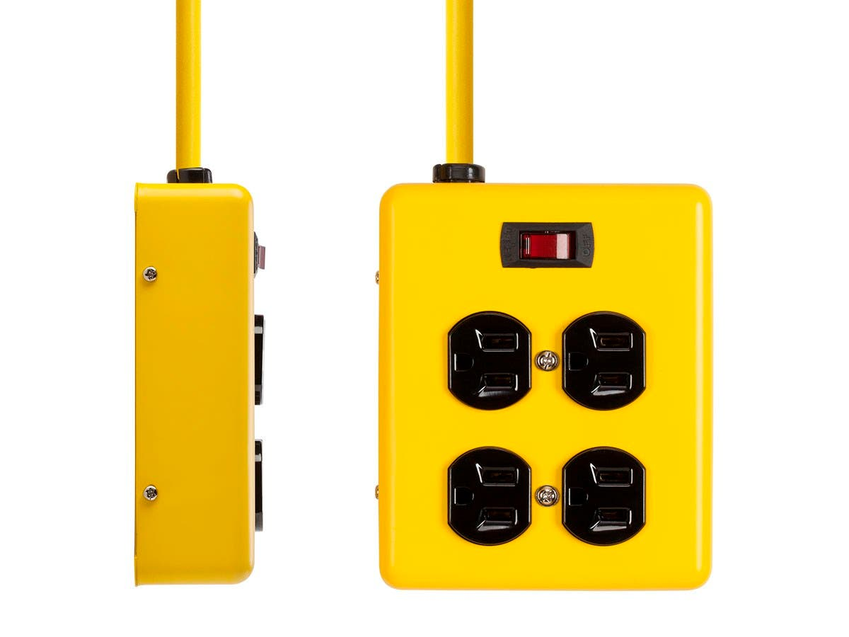 4 Outlet Power Box, 180 Joules, Metal with 6ft Cord (Yellow)