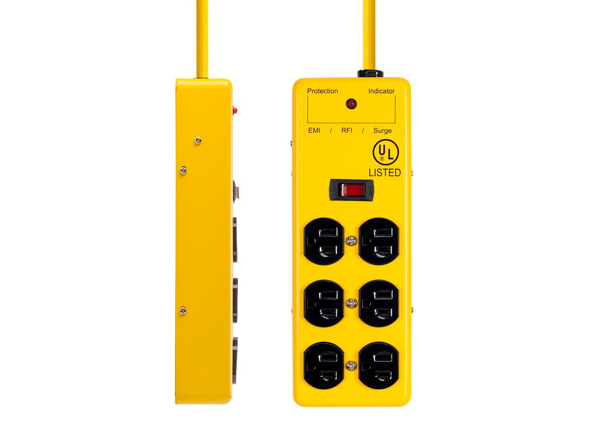6 Outlet Power Box, 540 Joules, Metal with 6ft Cord (Yellow)
