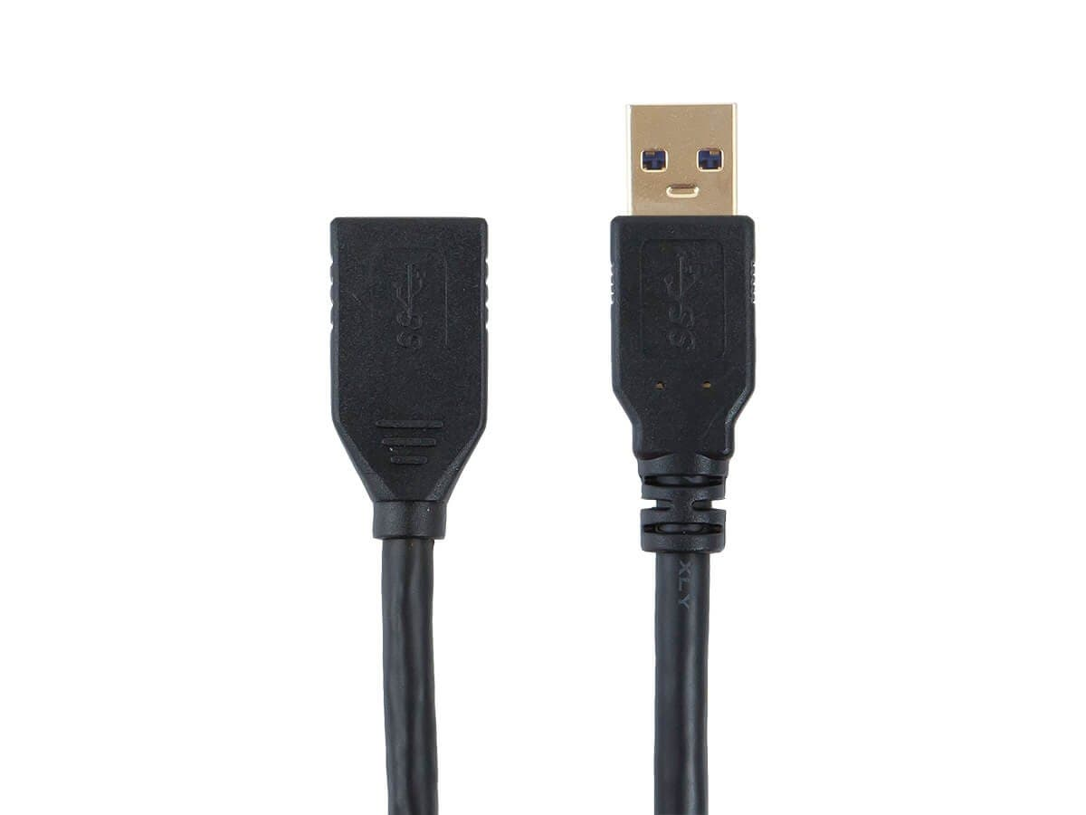Monoprice Select Series USB-A to USB-A Female 3.0 Extension Cable - Black, 1.5ft-Large-Image-1