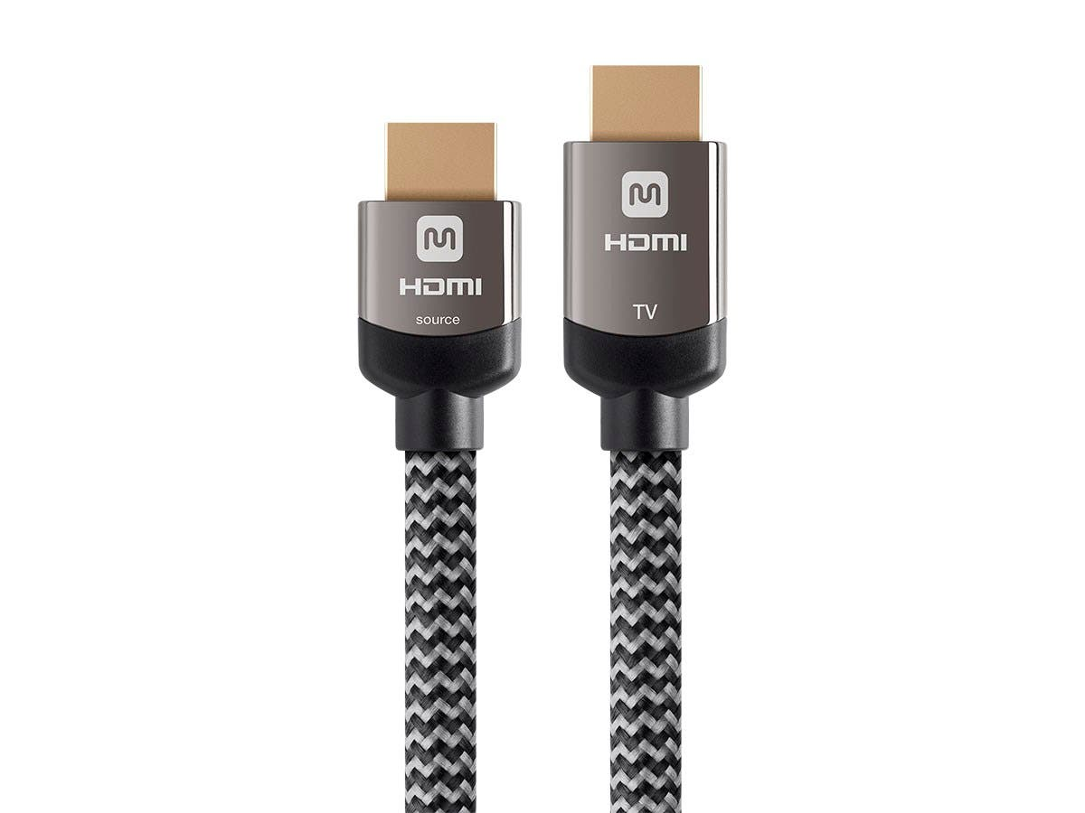 Monoprice 4K Braided High Speed HDMI Cable 50ft - CL3 In Wall Rated 18Gbps Active Gray - main image