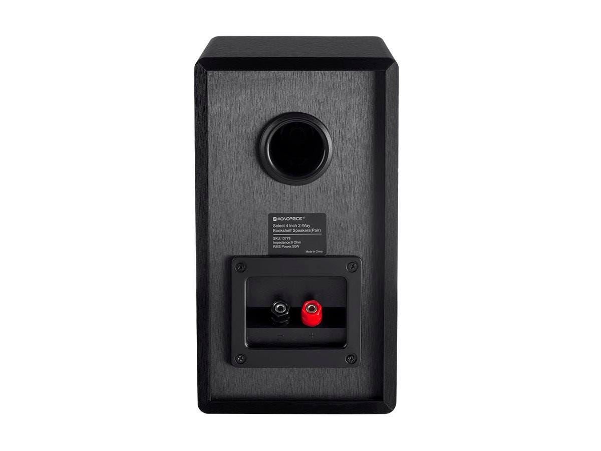 Monoprice Select 4-Inch 2-Way Bookshelf Speakers (Pair), Black ...