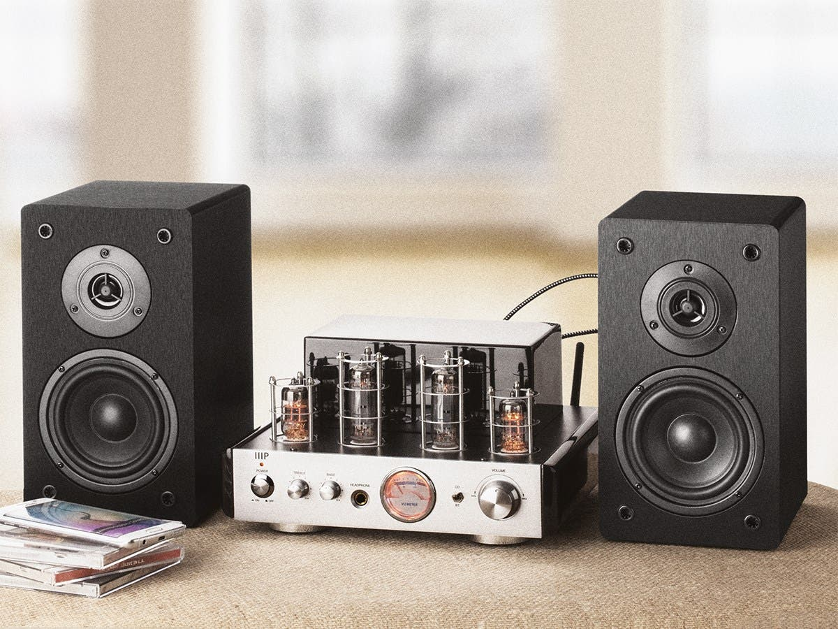 tube amp system with bluetooth 25 watt stereo hybrid with 4 inch select speakers. Black Bedroom Furniture Sets. Home Design Ideas