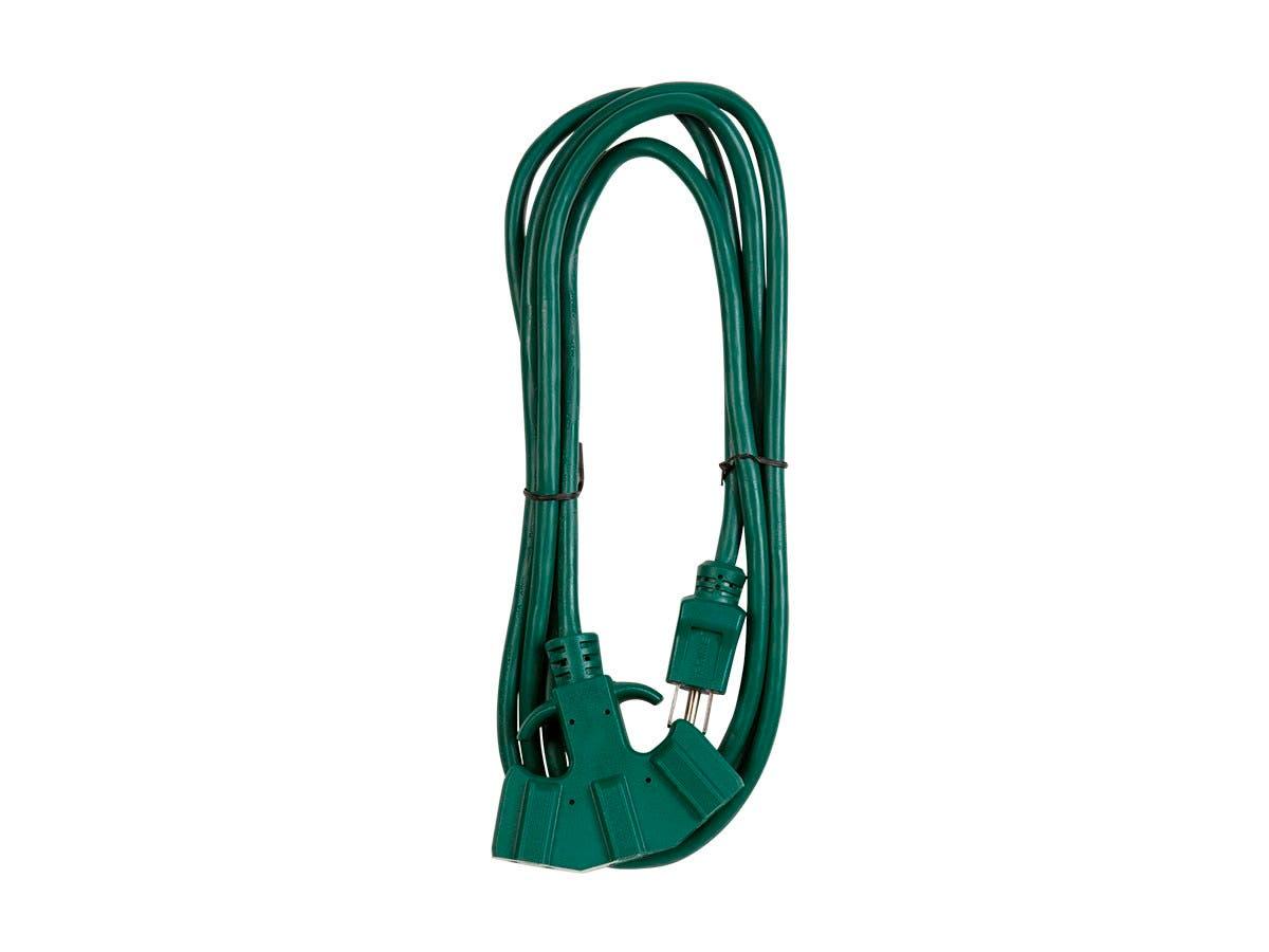 Monoprice 8ft 16/3 SJTW Green Outdoor Ext. Cord w/ EZ Grip Triple Tap-Large-Image-1