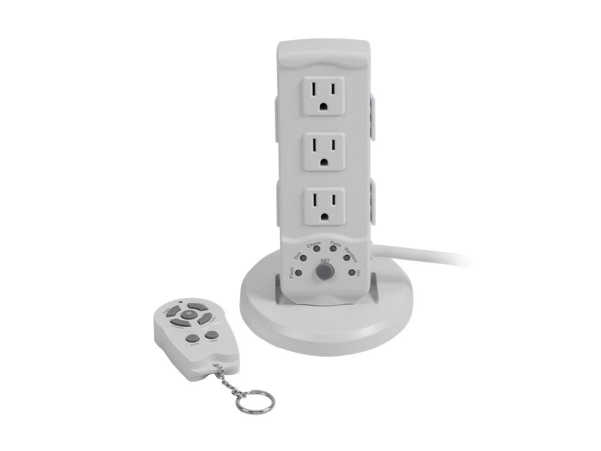 3-Outlet Indoor White Light Show Power Stand with Remote Control 14-3