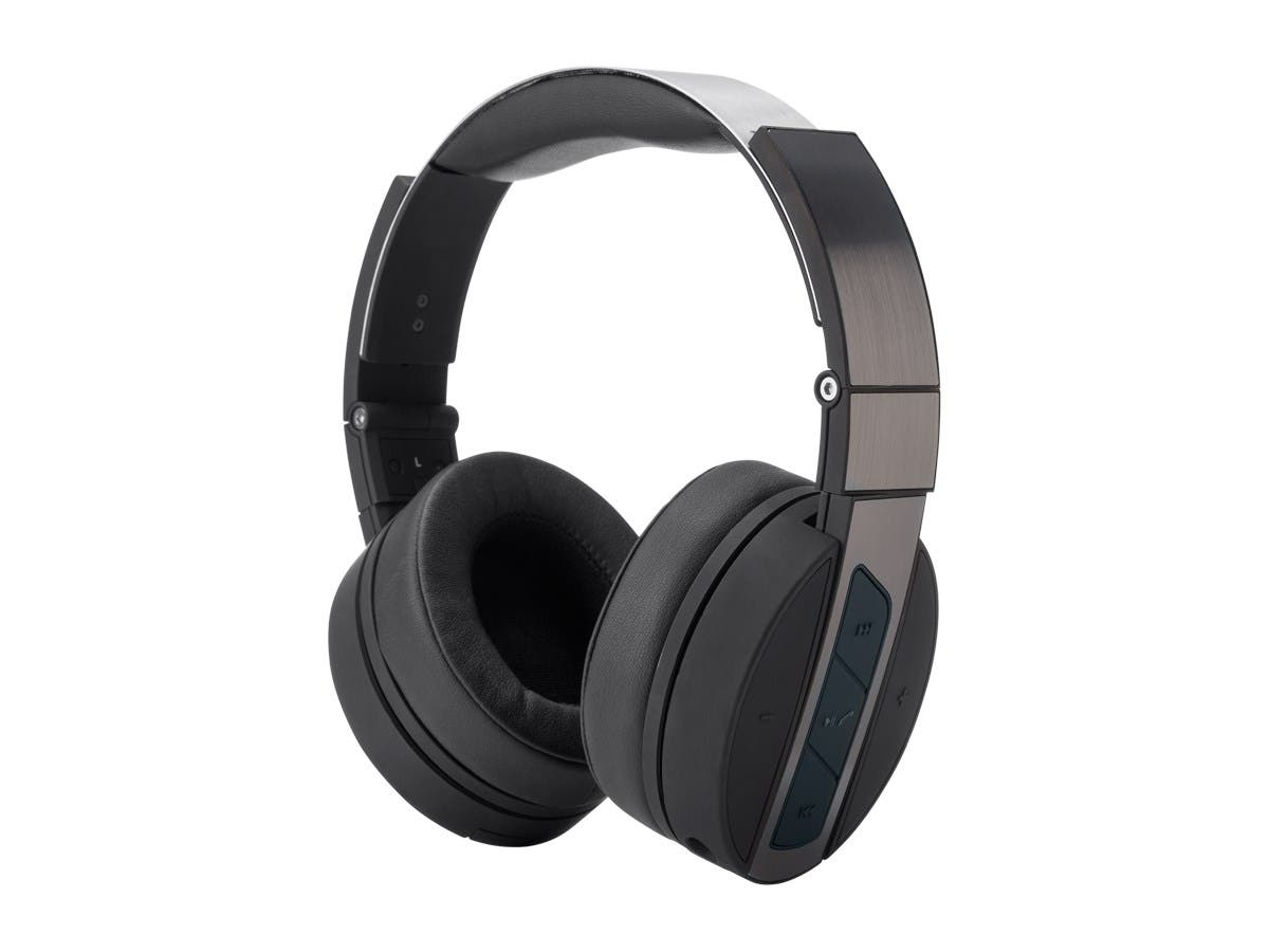 Monoprice Bluetooth Wireless Headphones with Built-In Microphone, Black and Brushed Metal Over Ear Headphones-Large-Image-1