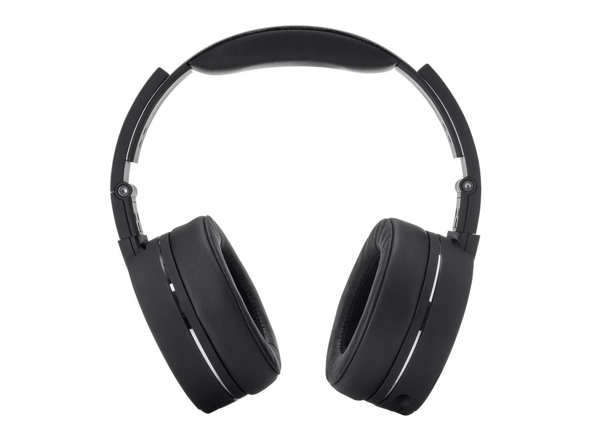 bluetooth over the ear headphones with built in microphone black and brushed metal. Black Bedroom Furniture Sets. Home Design Ideas