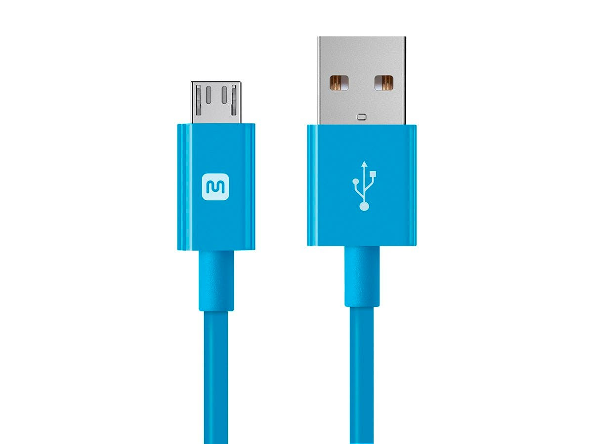 Monoprice Select Series USB-A to Micro B Cable, 2.4A, 22/30AWG, Blue, 3ft-Large-Image-1