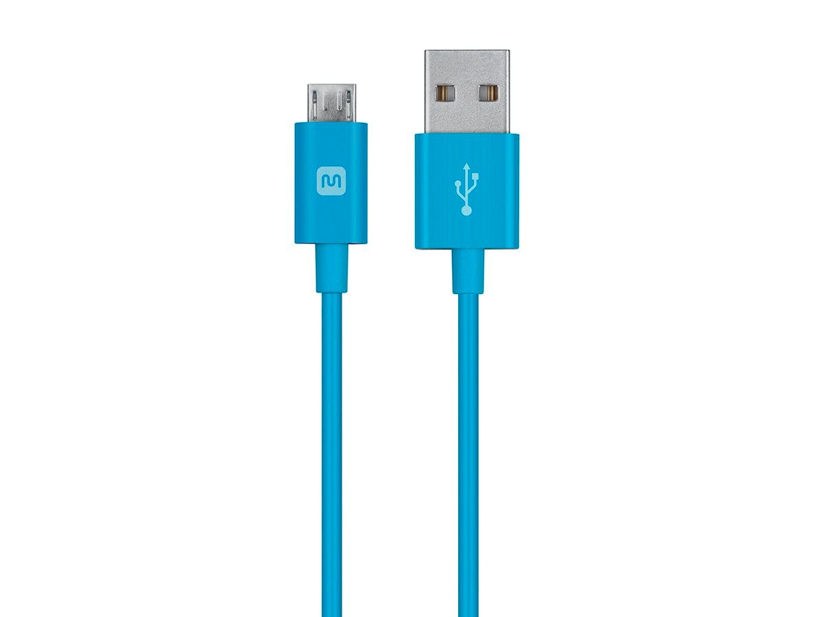 Monoprice Select Series USB-A to Micro B Cable, 2.4A, 22/30AWG, Blue, 6ft-Large-Image-1