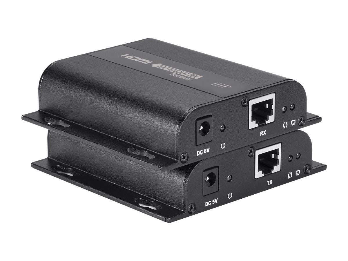 Monoprice Bitpath Av Hdmi Over Ethernet Extender Kit Cat5e Patch Cable Snagless Plenum 2539 Black Large Image 1