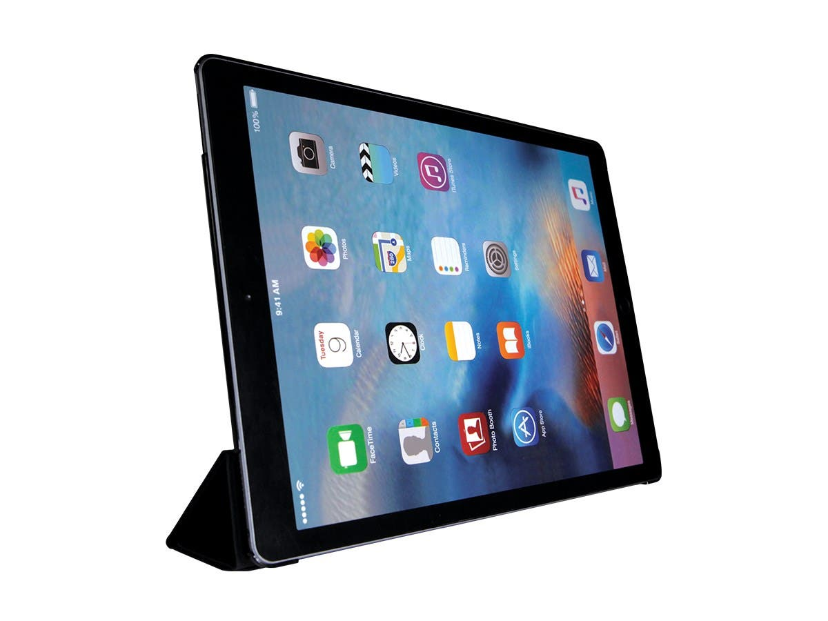 "Monoprice Piano Black and Leatherette Folio Case for 12.9"" iPad Pro-Large-Image-1"