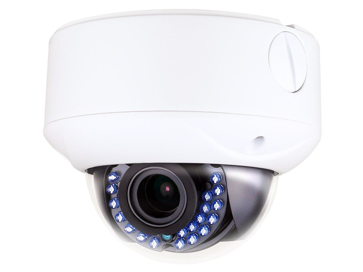 TVI Dome Camera, IP66 Rated Vandal Proof 2.8-12mm Vari-focal, 2MP, HD1080P, 1/2.7in Sensor, 24 Smart IR LEDs, up to 65ft, ICR, 3D DNR, 24VAC/12VDC