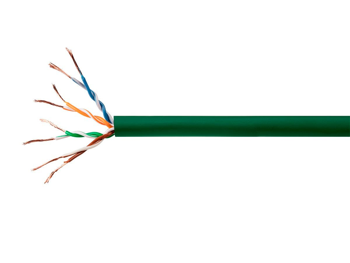 Monoprice Cat5e Ethernet Bulk Cable - Stranded, 350Mhz, UTP, CM, Pure Bare Copper Wire, 24AWG, 250ft, Green-Large-Image-1