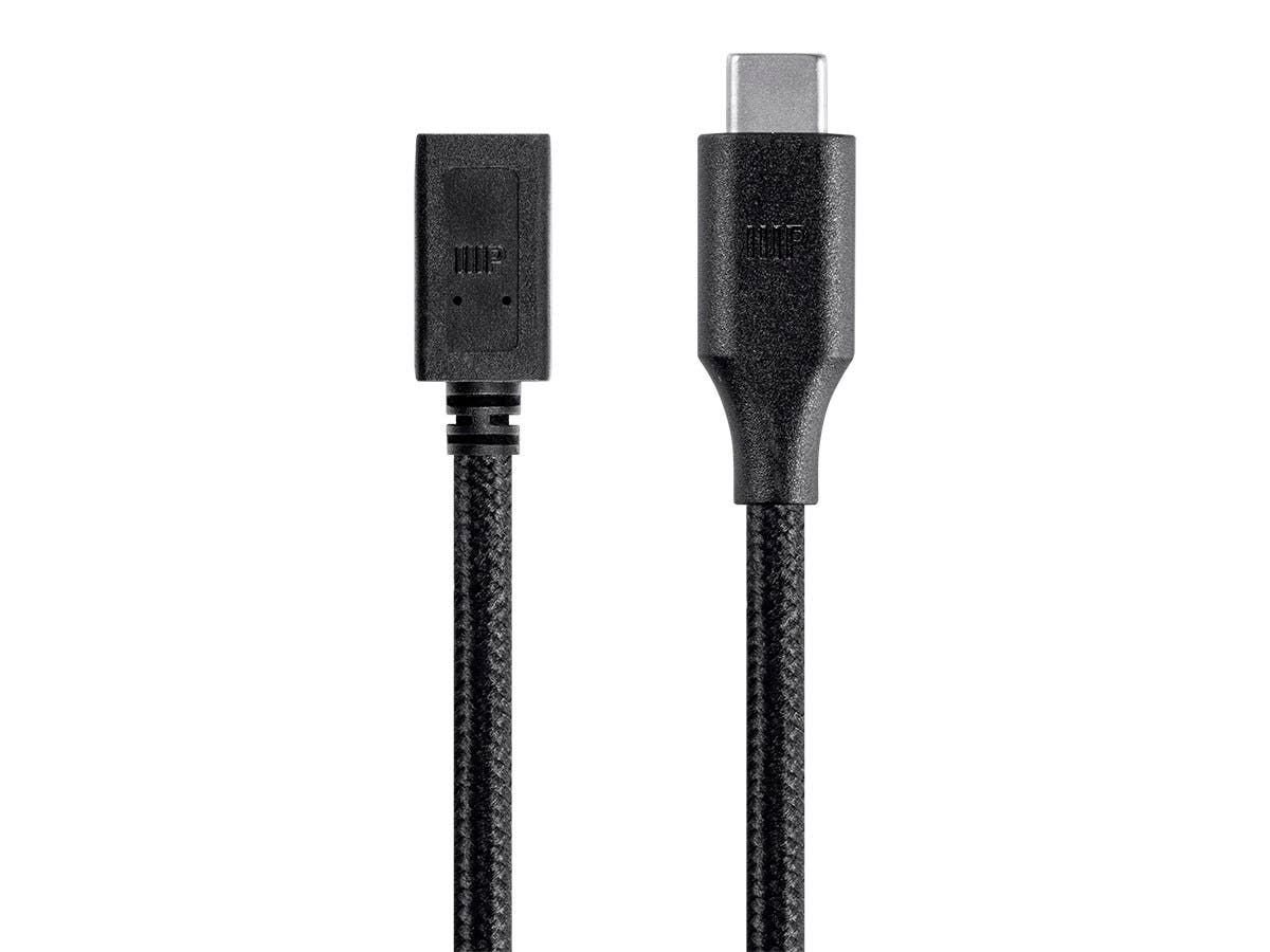 Monoprice Palette Series USB Type C to Micro B Female 2.0 Extension Cable - 480Mbps, 2.4A, Braided, Black, 1.5ft-Large-Image-1