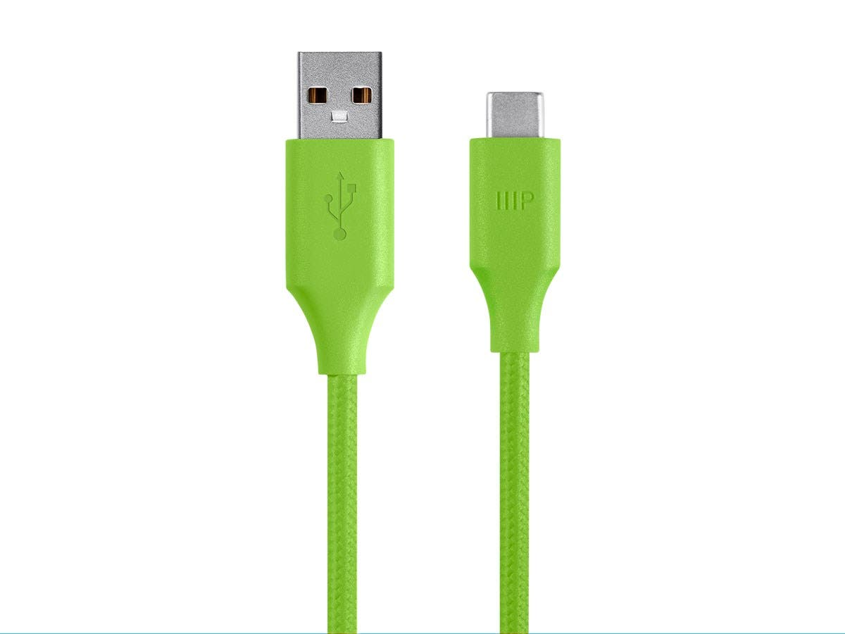 Monoprice Palette Series USB Type C to USB-A 2.0 Cable - 480Mbps, 2.4A, Braided, Green, 3ft-Large-Image-1