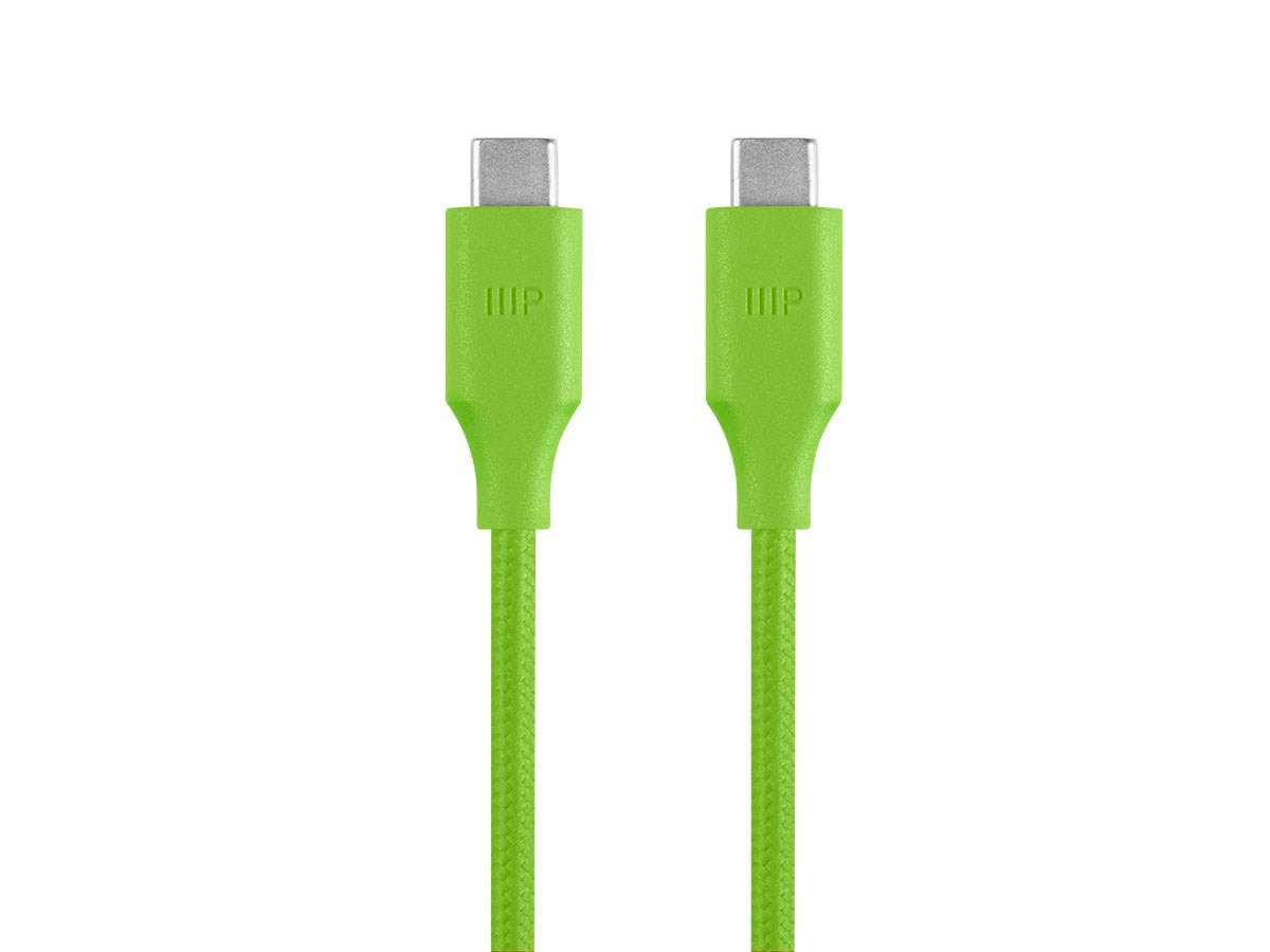 Palette Series USB Type-C to Type-C 3.0 Cable - 5Gbps, 3A, Braided, Green, 0.5ft-Large-Image-1