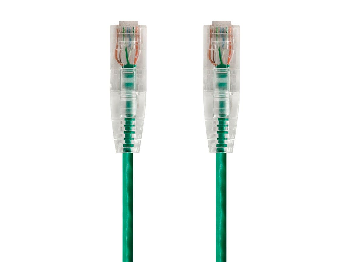 Monoprice SlimRun Cat6 Ethernet Patch Cable - Snagless RJ45, Stranded, 550Mhz, UTP, CMR, Riser Rated, Pure Bare Copper Wire, 28AWG, 7ft, Green-Large-Image-1