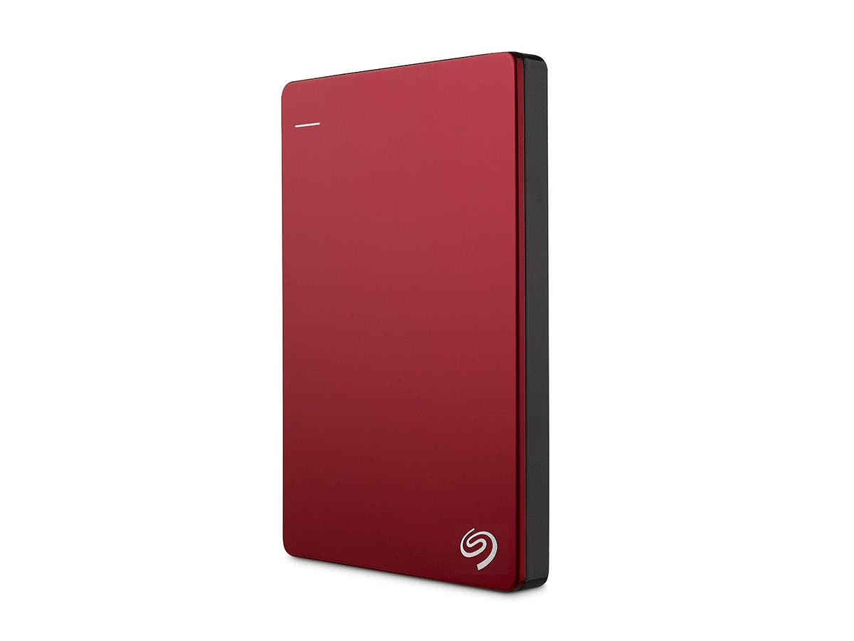 Seagate Backup Plus Slim 1TB Portable External Hard Drive with 200GB of Cloud Storage & Mobile Device Backup USB 3.0 STDR1000103  - Red-Large-Image-1