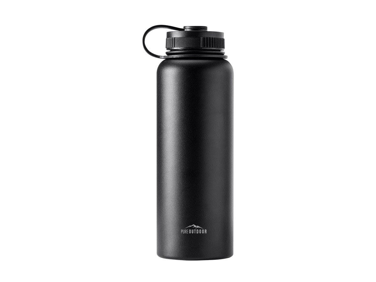 Pure Outdoor by Monoprice Vacuum Sealed 40 fl. oz. Wide-Mouth Water Bottle, Black-Large-Image-1