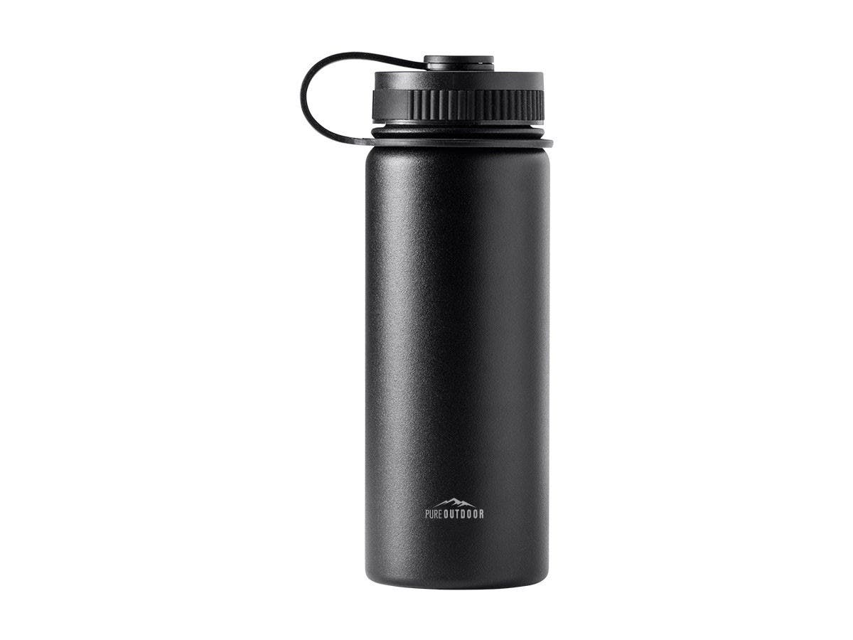Pure Outdoor by Monoprice Vacuum Sealed 18 fl. oz. Wide-Mouth Water Bottle, Black-Large-Image-1