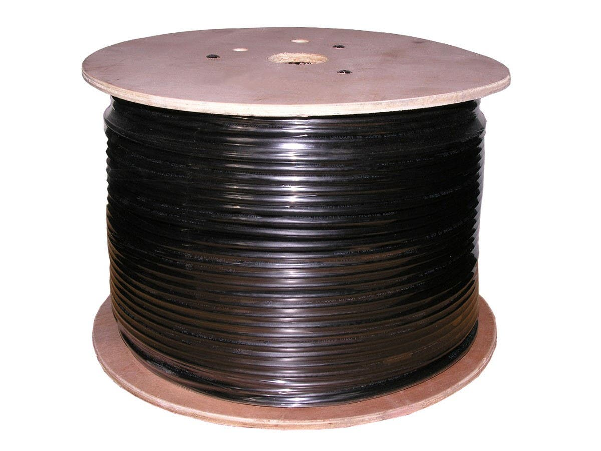 Monoprice Cat5e Ethernet Bulk Cable - Solid, 350Mhz, UTP, Pure Bare Copper Wire, Outdoor, 24AWG, 1000ft, Black-Large-Image-1