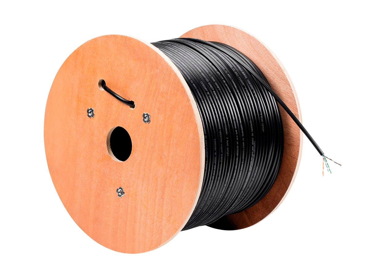 Monoprice Cat5e Ethernet Bulk Cable - Solid, 350Mhz, STP, Pure Bare Copper Wire, Outdoor, 24AWG, 1000ft, Black-Large-Image-1