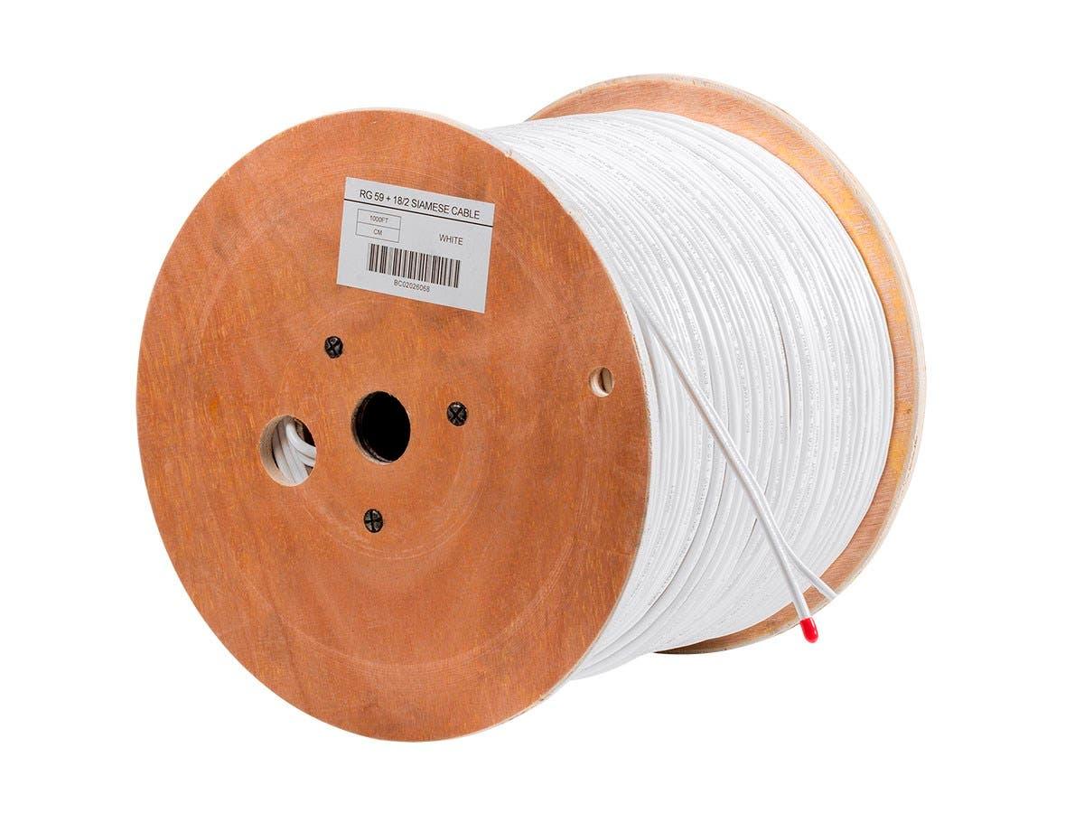 1000FT RG59 CCA w/2x18AWG Power, White CM (CCA)-Large-Image-1