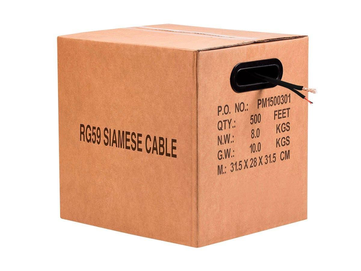 500FT Bare Copper RG59 w/2x18AWG Power, Black CM (Premium Bare Copper)