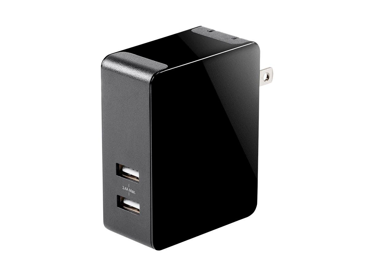 Monoprice Obsidian Plus USB Wall Charger, 2-Port, 4.8A Output for iPhone, Android, and Galaxy Devices-Large-Image-1