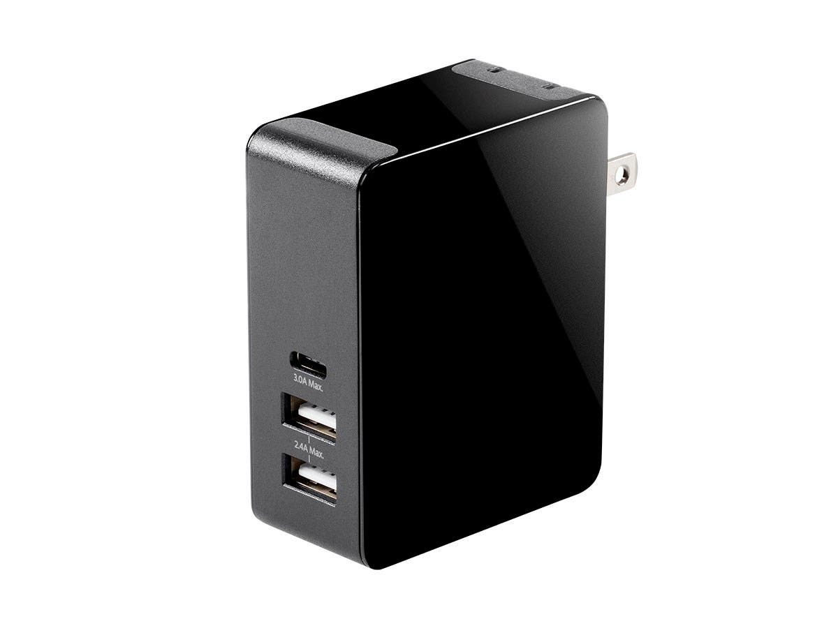 Obsidian Series 3-Port USB Wall Charger with USB-C