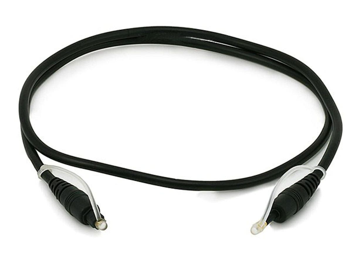 Monoprice S/PDIF Digital Optical Audio Cable, Toslink to Mini Toslink, 3ft-Large-Image-1
